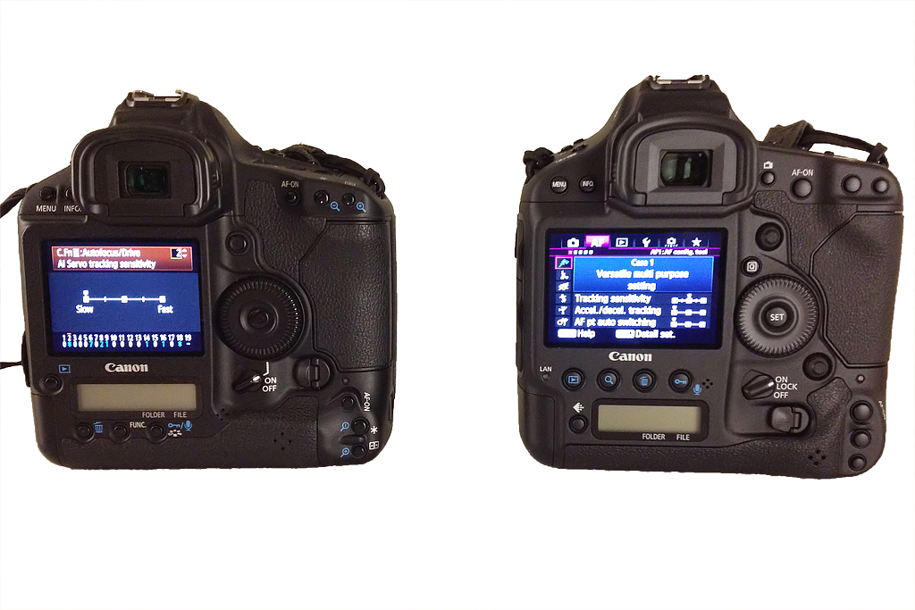 EOS 1D Mark IV (left) and EOS 1DX (right) notice the larger LCD plus dual joysticks for both horizontal and vertical grips.
