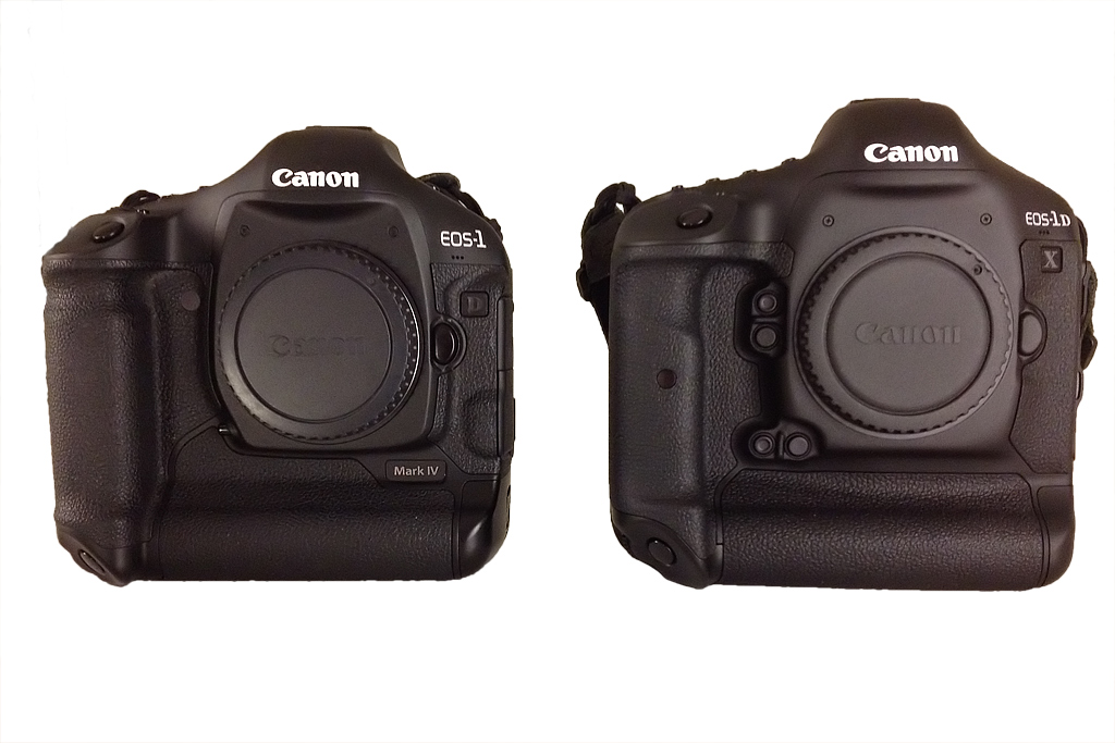 EOS 1DX (right) vs. EOS 1D MArk IV (left). The EOS 1DX is a larger body. Note the two customizable buttons by the lens mount which are also duplicated for the vertical grip.