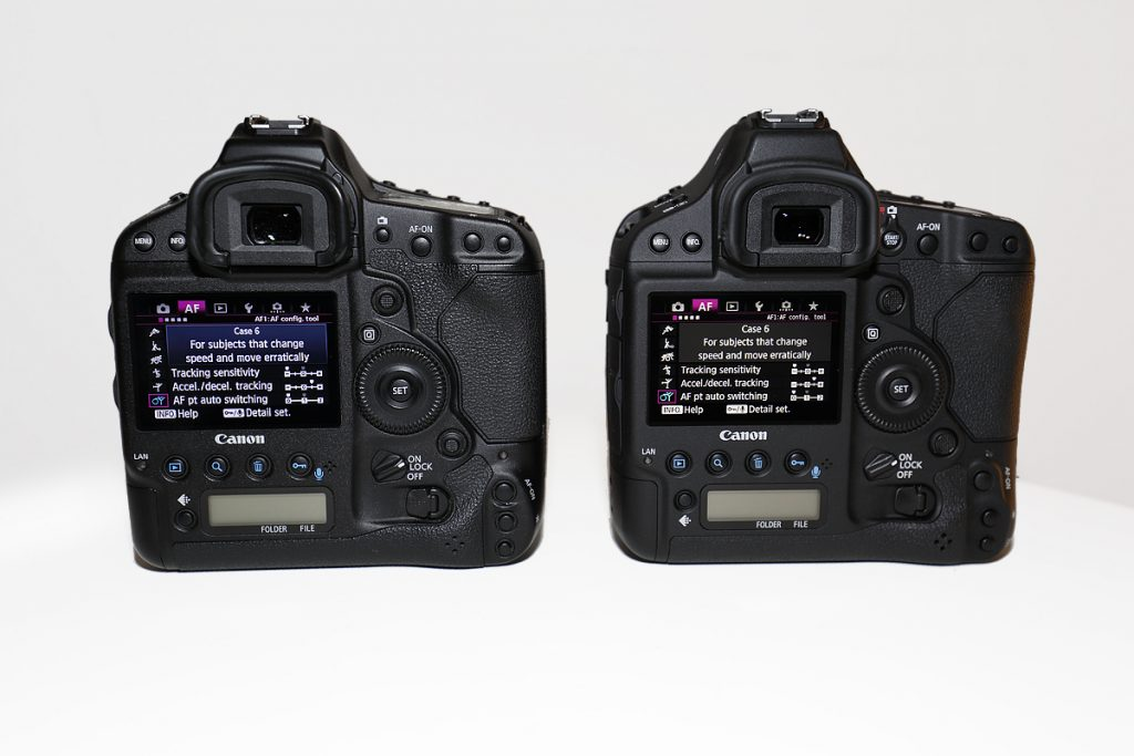 EOS 1D X (left) vs. EOS 1DX Mark II (right). There is little difference between the two bodies in terms of layout.