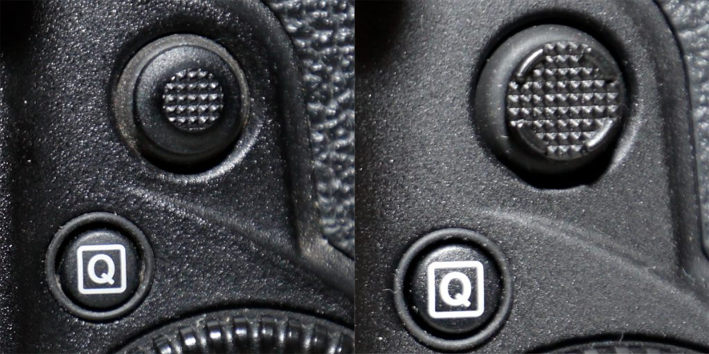 Rear joystick, left: EOS 1D X, right: EOS 1DX Mark II