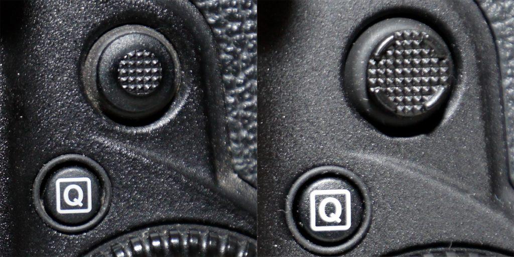 Rear joystick, left: EOS 1D X, right: EOS 1DX Mark II