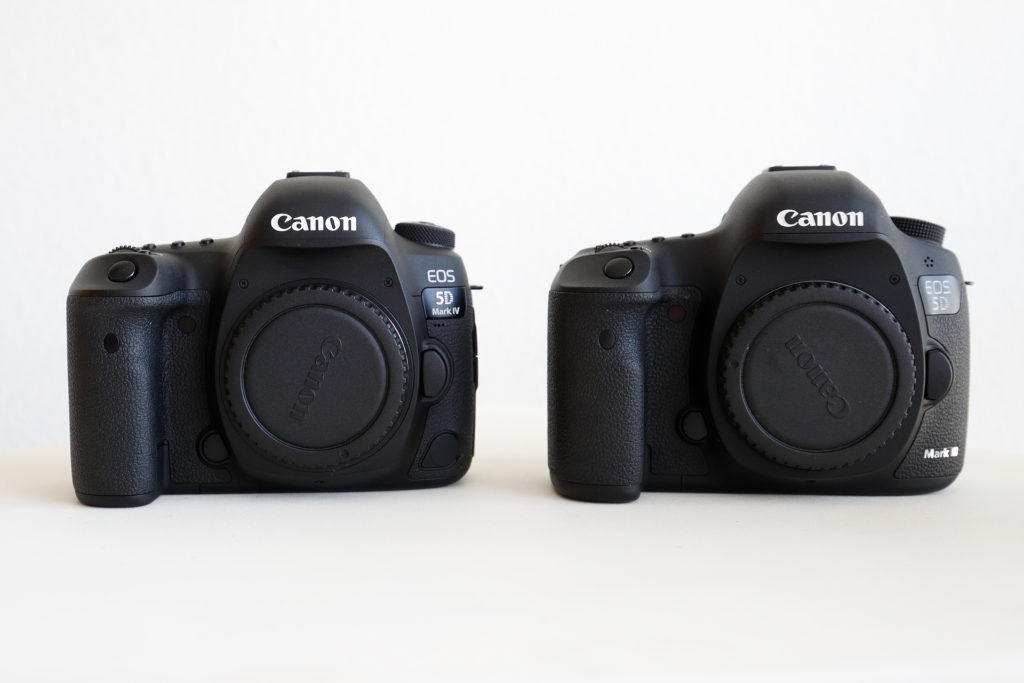 EOS-5D Mark IV (left) vs. EOS-5D Mark III (right). Note the prism dome in the EOS-5D Mark IV is a separate composite piece the allow for GPS/Wi-Fi reception.