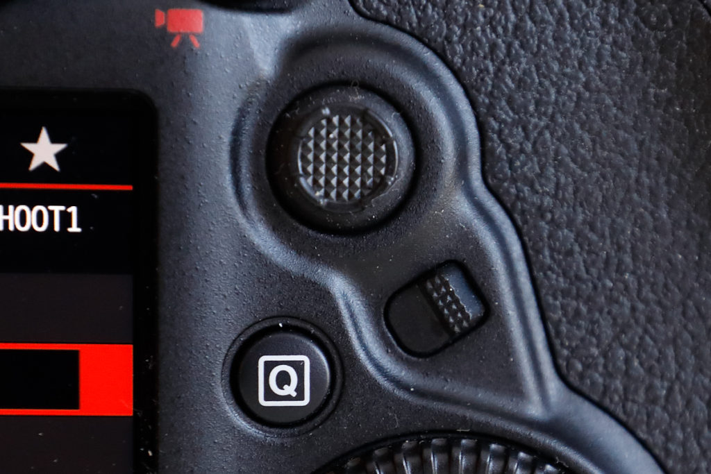 New in EOS-5D Mark IV: AF area selection button. This button as well as the Q button and the multi-controller can be programed to performs other functions.