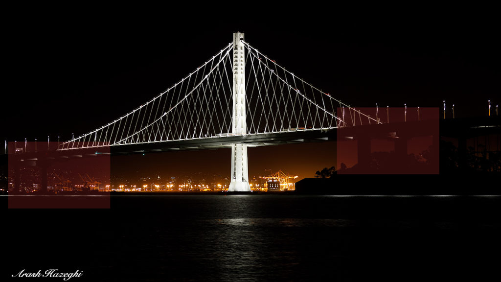 Night scene: San Francisco Bay Bridge extension. EOS-5D Mark IV, EF 70-200mm f/2.8 IS II. 6 seconds exposure at ISO 100. 100% crops of the red frames are shown below after +3EV exposure adjustment and maximum shadow adjustment of +4 in DPP4.5